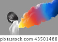 asian beautiful girl and colorful smoke flare 43501468