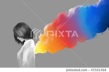 asian beautiful girl and colorful smoke flare 43501468