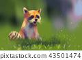 Digital illustration art painting style a raccoon 43501474