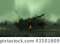 a boy standing in the swamp against abandon boat 43501609