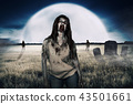 Zombies walking around on the cemetery 43501661