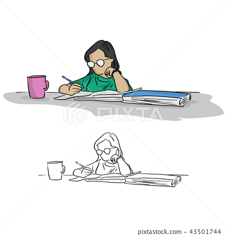 girl with glasses writing in notebook on table 43501744