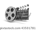 3d rendering of a video reel aand black clapperboard with empty fields on white background. 43501781