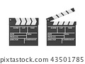 3d rendering of a black clapperboard with empty fields for movie name open and closed. 43501785