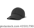 3d rendering of a single new baseball cap made in black textile material lying on a white background 43501790