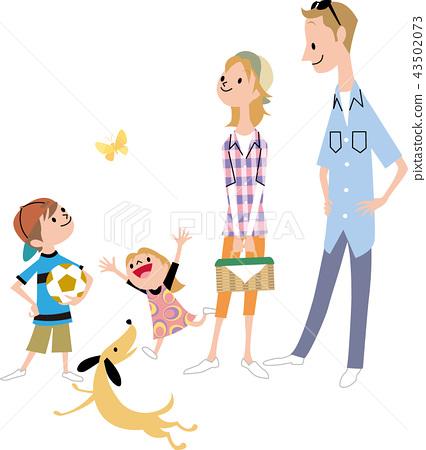 젊은 가족과 개 43502073