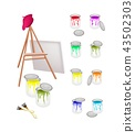 Easel and Paint Cans with Brush and Beret 43502303