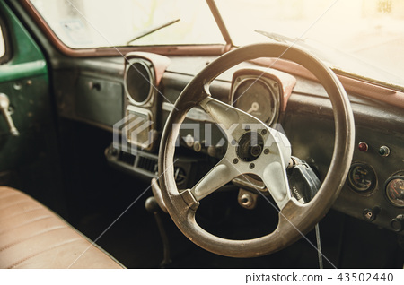 vintage old car interior dashboard 43502440