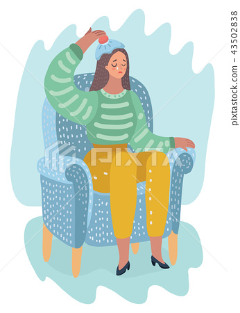 Woman holds an ice pack at her forehead 43502838