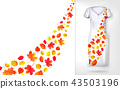 Autumn leaves falling and spinning in wind on dress mock up. Vector illustration. 43503196