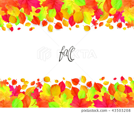Seamless border pattern of falling autumn leaves. Vector 43503208