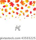 Seamless border pattern of falling autumn leaves. Vector 43503225