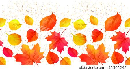 Seamless Bright Fall Autumn Leaves Border 43503242