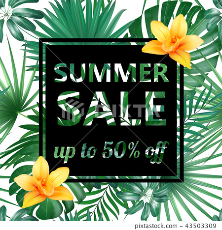 Summer sale Concept. Summer background with tropical flowers and leaf. Template Vector. 43503309