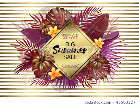 Summer sale background with exotic leaves and flowers. Vector background for banner, poster, flyer 43503327