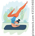 Woman posture yoga with park background 43503460