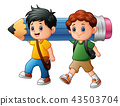 Two boy cartoon holding a large pencil 43503704