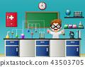 Cartoon boy doing chemical experiment 43503705