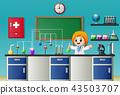 Cartoon girl doing chemical experiment 43503707