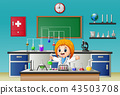 Scientist girl in laboratory research 43503708