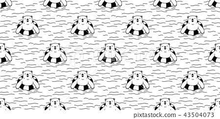 Bear seamless pattern vector polar bear swimming 43504073