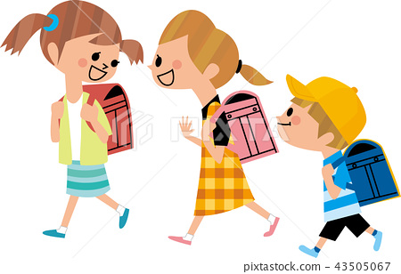 Elementary school students going to school 43505067