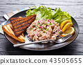 close-up of Tuna, capers and red onion salad 43505655