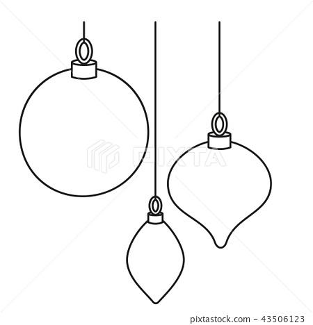 Line Art Black White Christmas Tree Decorations Stock