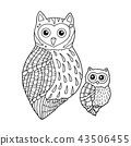 mom and baby owls vector doodle sketch line 43506455