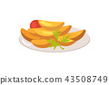 Plate Full of Food on White Vector Illustration 43508749