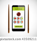 order colorful sushi set with soy sauce via smartphone 43509211