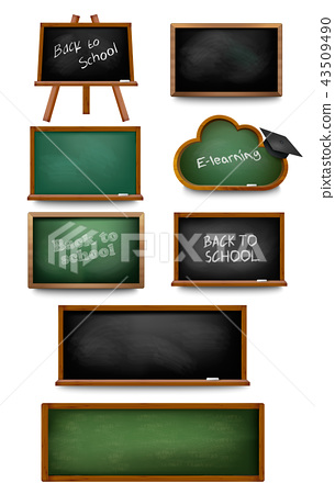 Set of chalkboards and schoolboards.  43509490