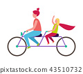 Mother and Daughter Riding Bicycle Illustration 43510732
