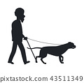 Dog Guide Silhouette Old Man Holding Pet Vector 43511349