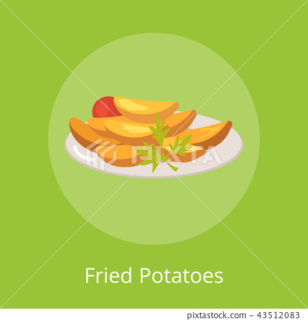 Fried Potatoes with Vegetables on Plate Vector 43512083