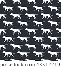 Animal seamless vector pattern of dog silhouettes 43512219