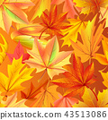 Seamless Pattern with Autumn Yellow Leaves, Aging 43513086