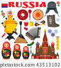 Russia Famous Items Icons Vector Illustration 43513102