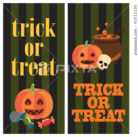 Trick or Treat Halloween Poster with Pumpkins 43513195
