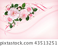 Pink rose flowers, ribbons and confetti  43513251