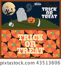 Trick or Treat Posters with Cemetery and Pumpkins 43513606