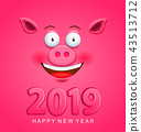 Cute greeting card for 2019 new year with pig face 43513712