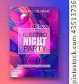 Flyer or banner to the electro night party. 43513736