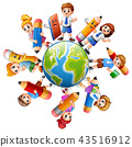 Children around the earth with stationery 43516912