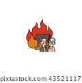 火 火災 白色背景 43521117