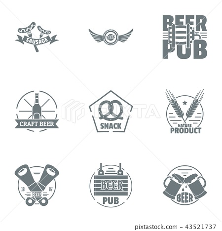 Craft beer logo set, simple style 43521737