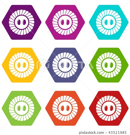 Sewing button icons set 9 vector 43521985