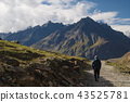 a man walking on empty road with mountain view 43525781