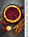Fruit pie. Sweet pie, tart with fresh cherry 43525992