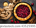 Fruit pie. Sweet pie, tart with fresh cherry 43525995